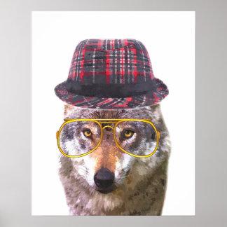 Poster Le bébé animal de crèche de loup mignon et drôle
