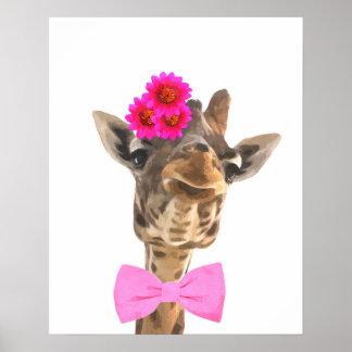 Poster Le bébé animal de girafe mignonne et drôle badine