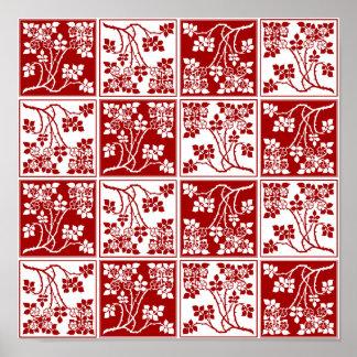 Poster Le blanc rouge de fleur sauvage a couvert de