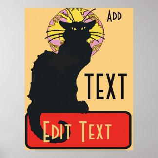 Poster Le chat noir, blanc, éditent le texte