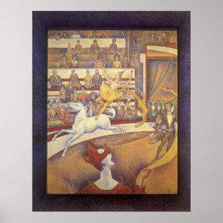 Poster Le cirque par Georges Seurat, Pointillism vintage