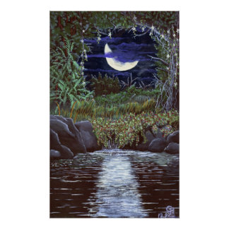 Poster Le clair de lune tombe copie acrylique d'art de