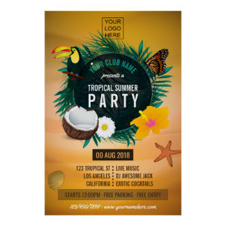 Poster Le club/partie tropicale d'entreprise d'été