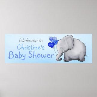 Poster Le coeur bleu monte en ballon le baby shower de