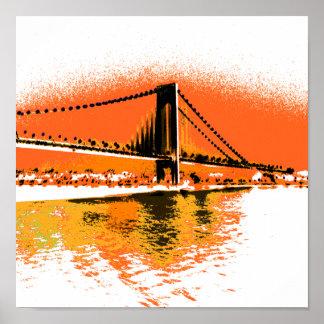 Poster Le coucher du soleil rétrécit la copie de pont