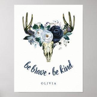 Poster Le crâne de Boho et les pivoines bleues | soient