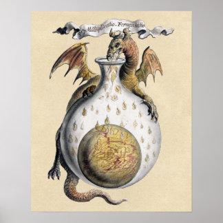 Poster Le creuset du dragon d'alchimie