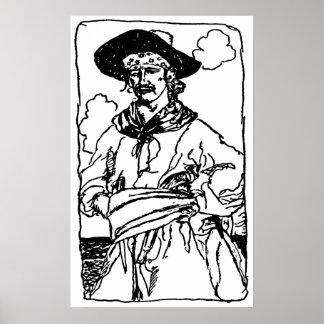 Poster Le cru pirate le croquis d'un capitaine par Howard