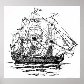 Poster Le cru pirate le galion, croquis d'un bateau