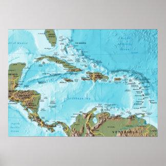 Poster Le des Caraïbes (carte)