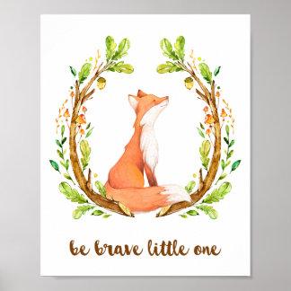 Poster Le Fox de région boisée soit petit le courageux
