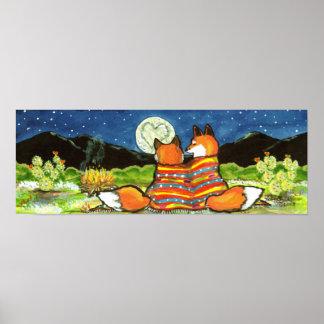 Poster Le Fox romantique d'amour macule la lune de nuit