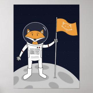 Poster Le Fox sur l'affiche de lune