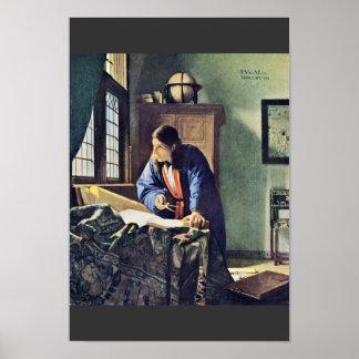 Poster Le géographe., par Johannes Vermeer