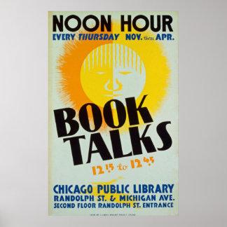 Poster Le livre vintage parle l'affiche