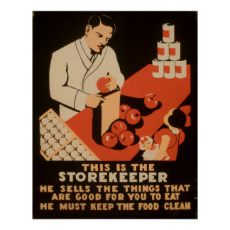 Poster Le magasinier doit conserver la nourriture WPA