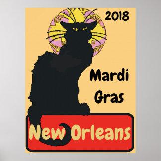 Poster Le mardi gras, la Nouvelle-Orléans, cause Noir,