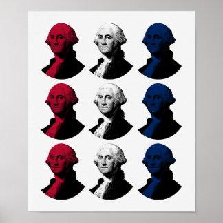 Poster Le Président George Washington - rouge, blanc, et