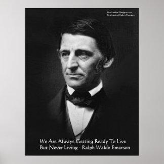 """Poster Le RW Emerson """"prêt à vivre"""" cadeaux de citation d"""