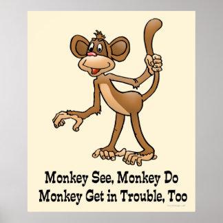 Poster Le singe voient, singe font