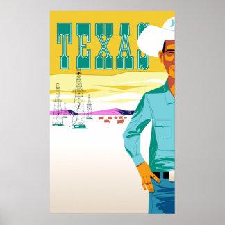 Poster Le Texas.  Affiche vintage de voyage de style