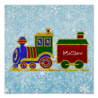 Poster Le train de Choo Choo de Noël personnalisent