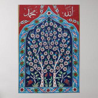 Poster Le turc bleu et rouge couvre de tuiles l'ARBRE DE