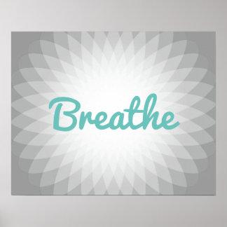 """Poster Le yoga et la méditation """"respirent"""" l'esprit"""