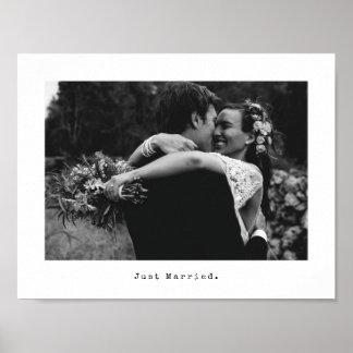Poster Légende de photo et de machine à écrire de mariage