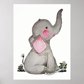 Poster L'éléphant mignon de bébé d'aquarelle avec