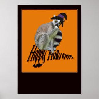 Poster Lémur effrayant heureux de Halloween dans une