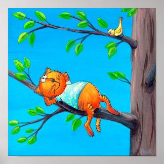 Poster Léon, le cadeau du chat   pour le chat drôle des