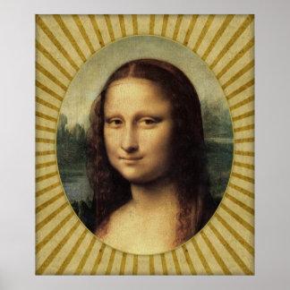 Poster Leonardo da Vinci - Mona Lisa en détail