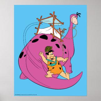 Poster Les Flintstones | Fred glissant en bas de la queue