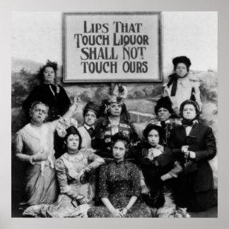 Poster Les lèvres qui touchent la boisson alcoolisée ne