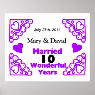 Poster Les noms de remous de Purple Heart et datent