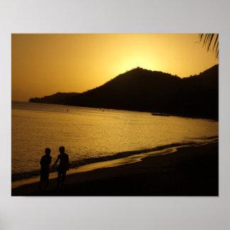 Poster Les souvenirs d'enfance d'un coucher du soleil