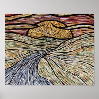 Poster Lever de soleil abstrait