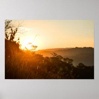Poster Lever de soleil au papier d'affiche de valeur de