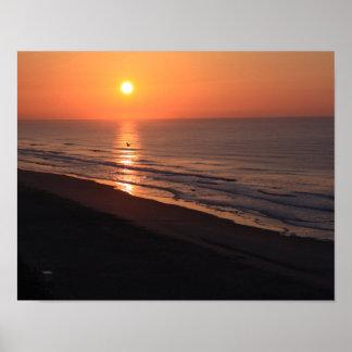 Poster Lever de soleil de plage de folie