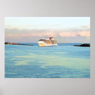 Poster Lever de soleil en pastel avec le bateau de