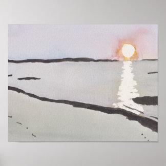 Poster Lever de soleil pâle d'océan