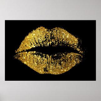 Poster Lèvres de scintillement d'or