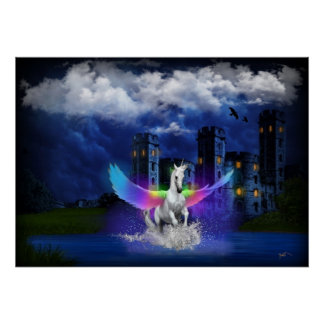 Poster Licorne avec des ailes d'arc-en-ciel
