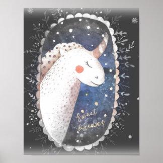 Poster Licorne de rêves doux