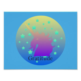 Poster Licorne d'Ombre avec gratitude de mot