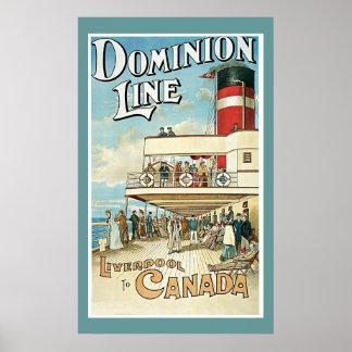 """Ligne"""" affiche vintage """"de dominion de voyage"""