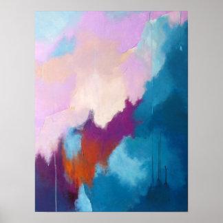 Poster Lilas avec la peinture abstraite moderne d'Aqua -