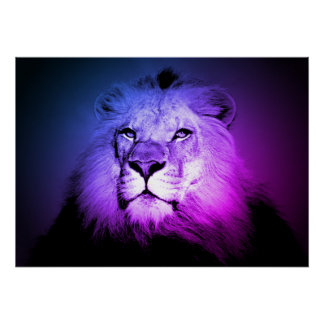 Poster Lion bleu d'art de bruit - photographie d'animal