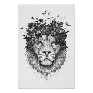 Poster Lion floral (noir et blanc)